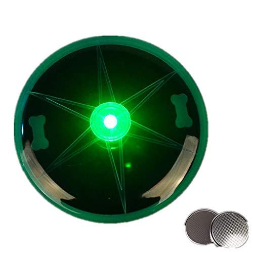 YAMERIJIA Flash Dog Frisbee, LED Leuchtende Plastik Frisbee, Werfen Biss-Resistentes Tier Spielzeug,Green
