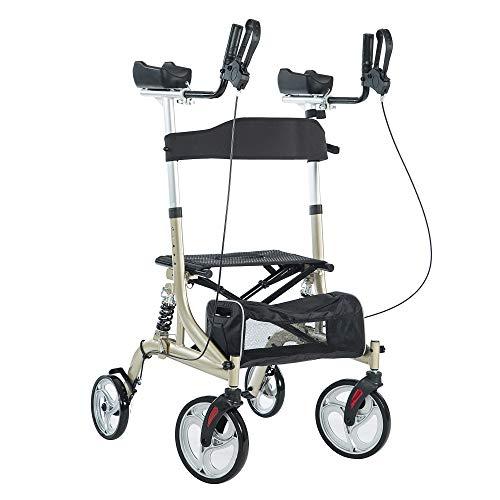 "BEYOUR WALKER Upright Rollator Walker with Shock Absorber, 10"" Front Wheels and Zipper Storage Basket for Seniors,Champagne"