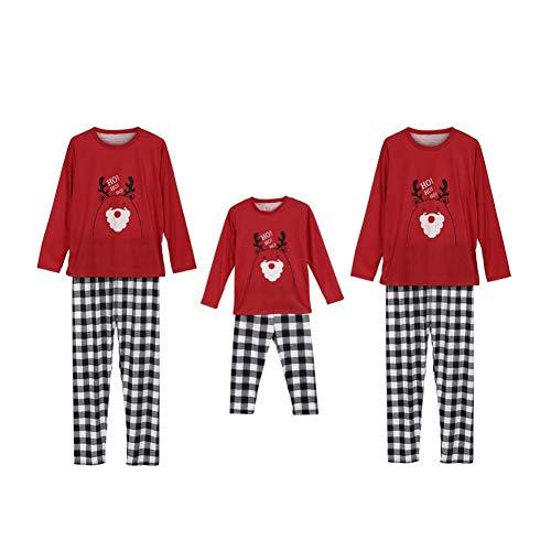 Miyanuby Hombre Mujere Niño Bebé Dibujos Animados Imprimir Tops Plaid Pantalones Pantalón Ropa de Dormir Pjs Set Pijama de Navidad para la Familia