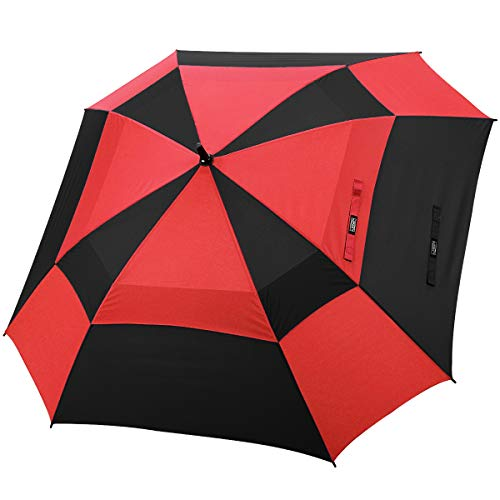 G4Free Extra Large Golf Umbrella Double Canopy Vented Square Umbrella Windproof Automatic Open 62 Inch Oversize Stick Umbrella for Men Women(Black/Red)