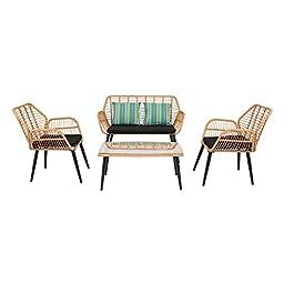 Bonnlo Ensemble de meubles de jardin en rotin 4 pièces avec table basse, chaise en rotin résistant aux intempéries et…