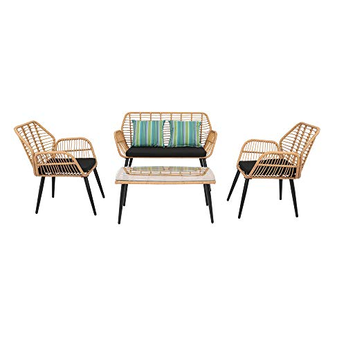 Bonnlo 4 Pieces Outdoor Rattan Garden Furniture Set Patio Conversation Set with Coffee Table, All-Weather Rattan Chair Patio Wicker Sofa Set for Yard,Pool or Backyard
