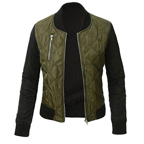 Minetom Damen Frühlings Mode Stylisch Jacke Kunstleder Tops Coat Reißverschluss Bomberjacke Bikerjacke Motorradjacke Grün DE 48