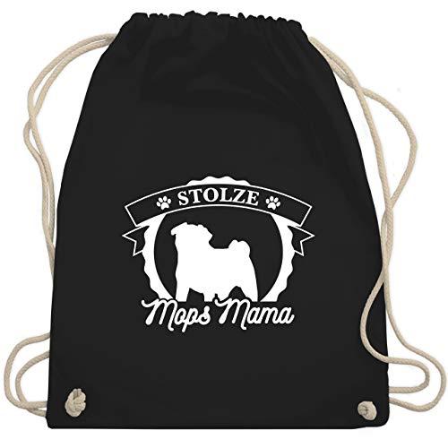 Shirtracer Hunde - Stolze Mops Mama - Unisize - Schwarz - turnbeutel möpse - WM110 - Turnbeutel und Stoffbeutel aus Baumwolle