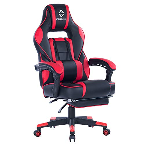 PEROINE Massage Gaming Chair - High Back PU Leather PC Racing Computer Desk Office Swivel Chair with Retractable Footrest and Adjustable Lumbar Support (Red/Black)
