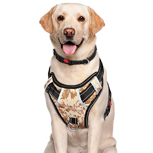 BABYLTRL Big Dog Harness No Pull Adjustable Pet Reflective Oxford Soft Vest for Large Dogs Easy Control Harness (XL, Camo)