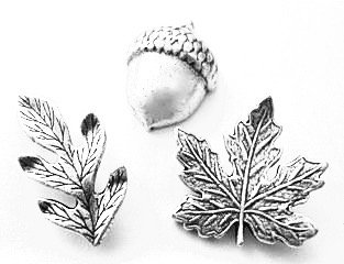 Fall Leaves and Acorn Metal Push Pins, Silver Finish, Solid Metal, 15 Pieces