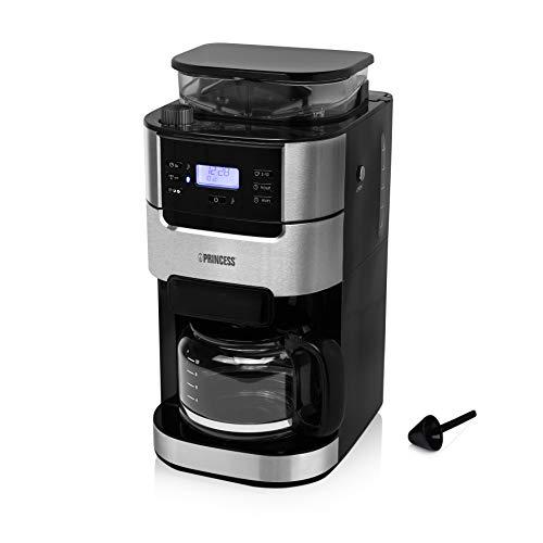 Princess 249411 Cafetera Grind Brew Roma, Sistema de filtro cónico, 1050 W, para 2 a 10 tazas de café, varios ajustes preprogramados, Negro