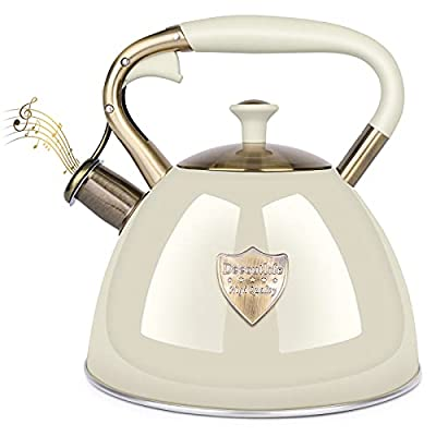 Tea Kettle Stove Top 3 Liter Modern Whistling Tea Kettle-Surgical 5 Layer Stainless Steel Teakettle Teapot with Cool Toch Ergonomic Handle Teapot - Pot For Stove Top