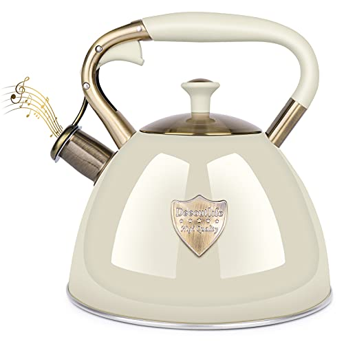 stove kettles Tea Kettle Stove Top 3.17Quart Modern Whistling Tea Kettle-Surgical 5 Layer Stainless Steel Teakettle Teapot with Cool Toch Ergonomic Handle Teapot - Pot For Stove Top