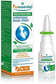 Puressentiel Hypertonic Nasal Spray 15ml - Congestion relief - Instant action - Blocked nose, cold, hay fever, allergies, sinusitis - 100% natural, eucalyptus, sea water, propolis and echinacea