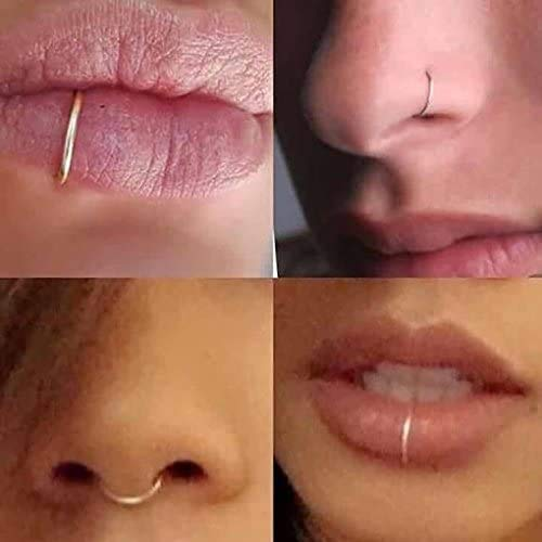 Fake Sterling Nose Ring Lip Ring Septum Cartilage Tragus Helix Ring Piercing 20g (6mm, Silver)