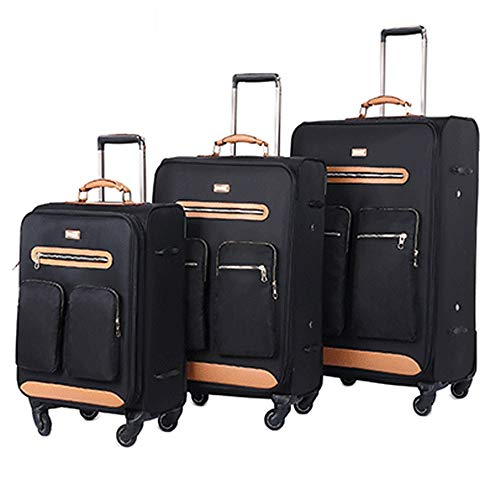 Suitcase Retractable Column Embedded Set With TSA Lock Oxford Cloth Software Carry Luggage Soft Shell Lightweight Silent Rotator Multi-directional Wheel Travel Luggage Case
