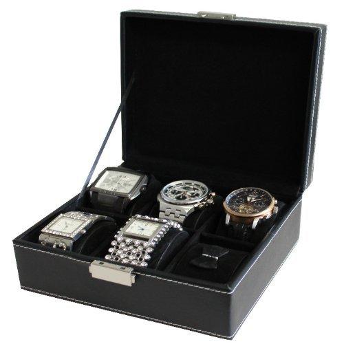 Déluxa Edle Uhrenbox - Aufbewahrungsbox für 6 Uhren - Eleganter Uhrenkoffer In Schicker Lederoptik Gepolstert mit Weichem Sant – Schwarz