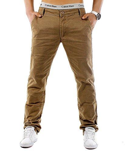 EGOMAXX Herren Chino Hose Regular Fit MC Trendstr Elegante Basic Stoff Jeans, Farben:Senf, Größe Hosen:W38