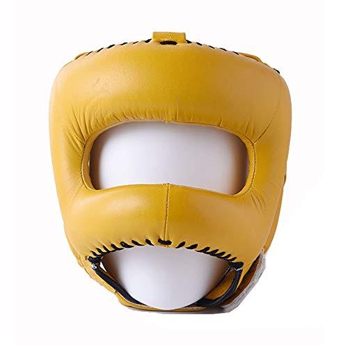 Casco de Boxeo Head Guard PU Cuero Boxeo Headgear Protector Headgear Sparring Casco Casco de la Lucha Libre (Color : Yellow, Size : One Size) 🔥