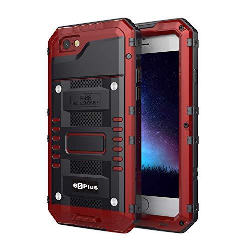Funda Impermeable para iPhone 6 Plus/iPhone 6S Plus,Antigolpes Rígida Resistente Dura Antipolvo Robusta Sólida Blindada con Protector Protección 360 Grados para Tabajos Pesados,Rojo