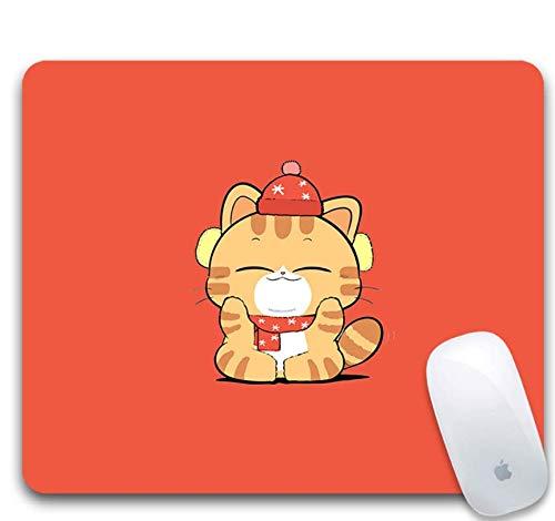 Alfombrilla De Ratón Para Juegos, Goma Duradera, Gato De Dibujos Animados Con...