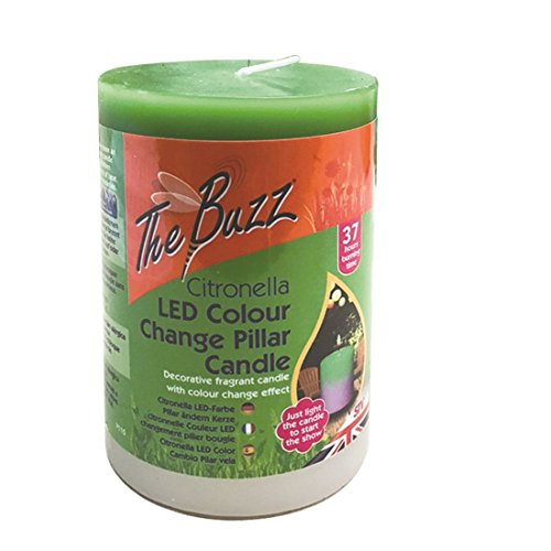 The Buzz Citronella Colour-Change Pillar Candle, Heat Activated LED Changes Colour, Garden Use