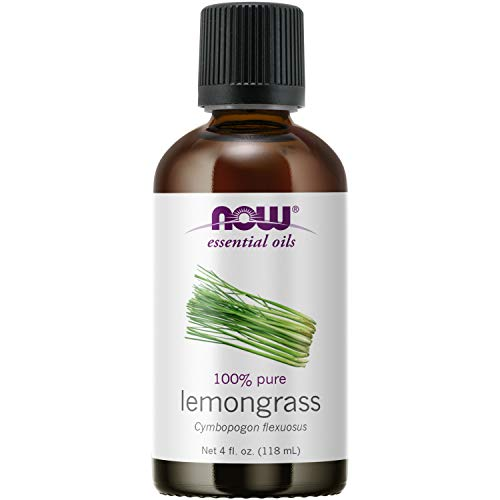 NOW Essential Oils, Lemongrass Oil, Uplifting Aromatherapy Scent, Steam Distilled, 100% Pure, Vegan, Child Resistant Cap, 4-Ounce