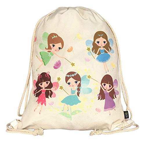 HECKBO Mochila niñas con dibujo de hada - impresa (por ambas caras) con dibujos de hadas mágicas - 40x32 cm se puede lavar a máquina - apta para hacer deporte, para el colegio, el tiempo libre