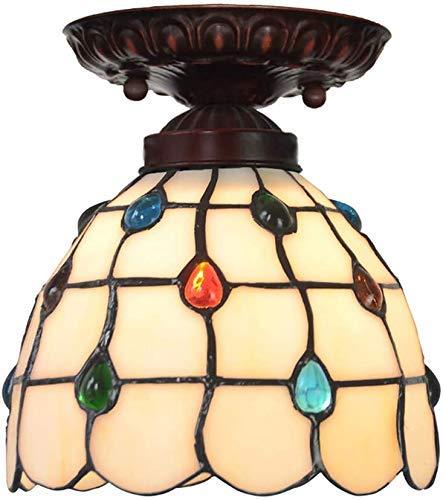 Wtbew-u Lámpara de techo, lámpara de baño de 7 pulgadas, diseño vintage de cola de fénix, cristal manchado, pantalla semiempotrada E27, lámpara de techo para pasillo balcón 110 V-240 V