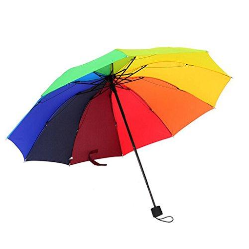 GTWP GTWP GT Regenschirm Manual Mode, 3 Falten Regenschirm, Regenbogen Regenschirm Wasser blühende, Regen Regenschirm stabile Winddicht Anti-UV-Sonnenschutz Dach