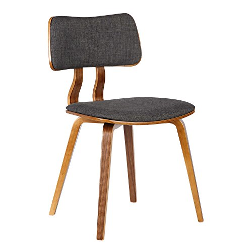 Armen Living Jaguar Dining Chair in Charcoal Fabric and Walnut Wood Finish