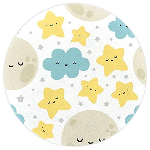 nakw88 Alfombra de suelo grande redonda impresa para sala de estar o dormitorio, alfombra gruesa de juego de 160 cm, luna nube estrellas