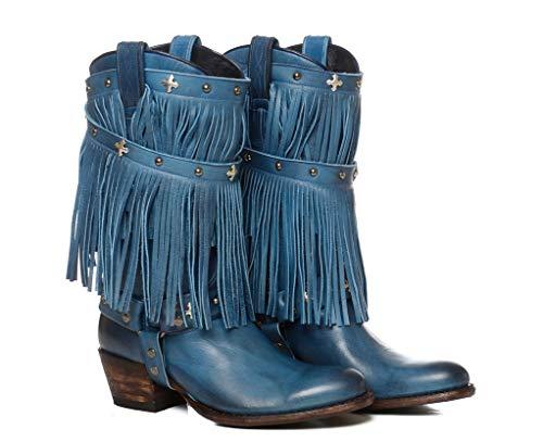 Sendra Boots Western laarzen 11459 Debora Wild met riem en afneembare franjes, blauw