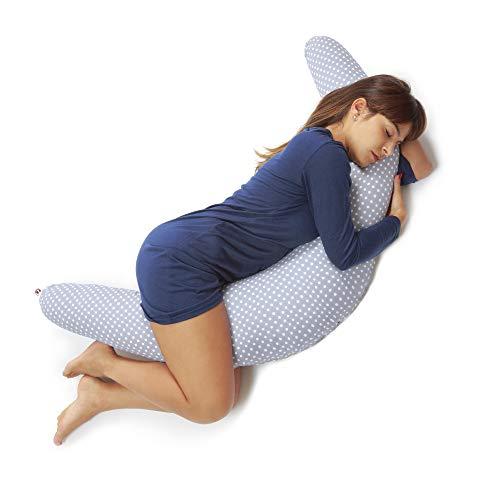 Niimo Stillkissen Schwangerschaftskissen zum schlafen groß XXL erwachsene mit Bezug aus 100{058dc48a3e6bc609df0964c5757e1f64d844e84c4977688452d3ace18ee383f7} Baumwolle für Mutter und Baby (Grau-Weiße Punkte)