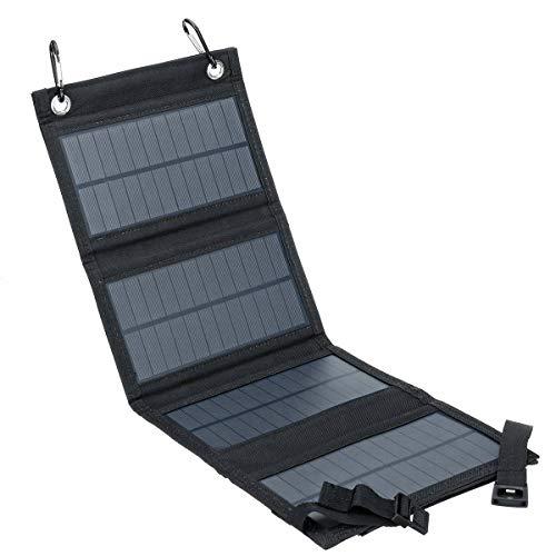 Panel Solar Portátil, Cargador Solar 10W con Salida USB Cargador De Viaje Plegable A Prueba De Agua para iPhone Y Teléfonos Inteligentes Android(Color:Negro)