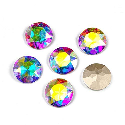 PENVEAT 1201 Todos los tamaños AB Redondo Coser en Diamantes de imitación K9 Piedras y Cristales de Vidrio Strass Gemas de Punta Puntiaguda para Manualidades, sin Garra, 35 mm 6 Piezas