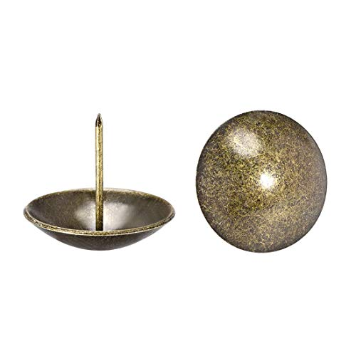 Tapiz de decoración con clavos de 40 mm de diámetro, 37 mm de altura, redondos, chinchetas de pulgar, tono bronce para muebles cabeceros de cama de sofá, 20 piezas