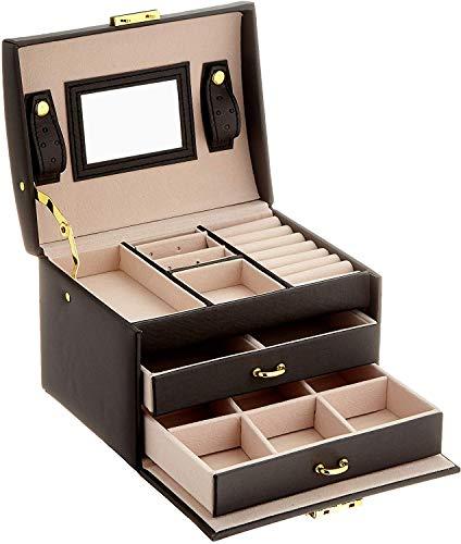 NBALL-TT Black Watch Box Schmuck Oganiser DREI Schichten PU-Leder Schmuck Storage Box Mit Spiegel Und Verschluss Für Mädchen Und Frauen-Geschenk