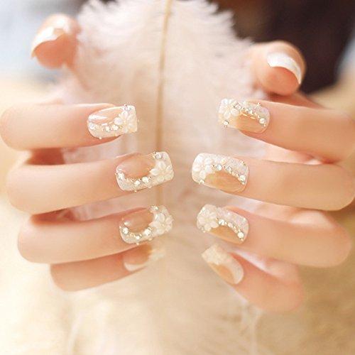 Lzndeal 24 Pcs/Set False Nails Rhinestones Crystal 3D Design Acrylic False Nail Tips Wedding Bridal Finger Nail Tips