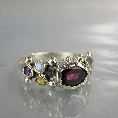 Multistone Handmade Sterling Silver Garnet Citrine Moonstone Amethyst Bohemian Stacking Ring Alternative Designer Engagement Ring -  Yifat Bareket