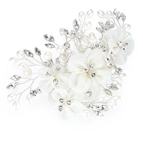 HONEY BEAR Damen Brautschmuck Blume Haarkämme Haar Klammern für Hochzeit, Kristall Strass mit Simulierte Perlen Haarschmuck, weiß,MEHRWEG