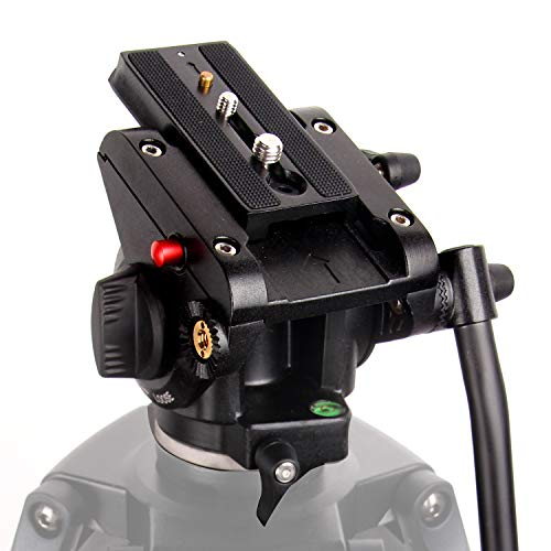 "Fluid Head, Regetek Flat Base Pro Heavy Duty Video Camera Tripod Action Fluid Drag Pan Head with 1/4"" and 3/8"" Screws Sliding Plate for Canon Nikon Sony DSLR Cameras Video Camcorders Shooting Filming"