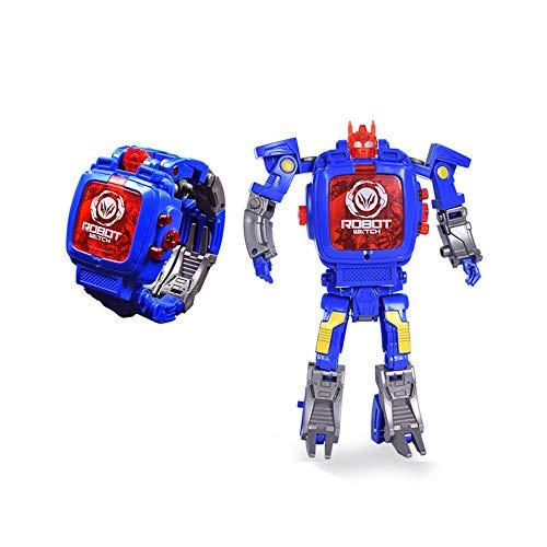 Kinderuhren Deformiertes Roboter Digitaluhren Armbanduhren für Jungen und Mädchen, Blau