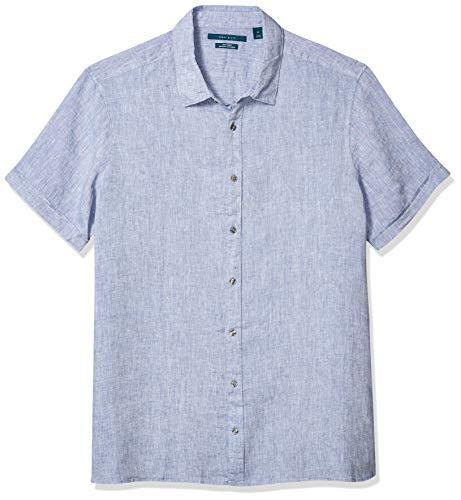 Perry Ellis - Camisa de Manga Corta para Hombre de Lino Liso sin atascar, para Hombre, Azul (Colony Blue), XX-Large Alto