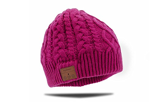 Tenergy Wireless Bluetooth Beanie Hat with Detachable Stereo Speakers & Microphone, Fleece-Lined Unisex Music Beanie for Women Outdoor Sports, Braid Cable Knit (Hot Pink)