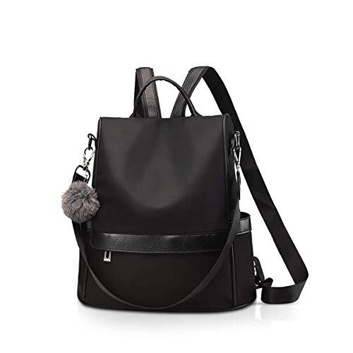 KaiKai Frauen Fashion Rucksack Handtaschen-Dame-Schulter-Beutel Nylon Rucksack Anti-Diebstahl-Daypack Mädchen wasserdichte Schultasche Weiß A (Color : Black B)