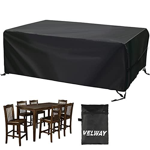 Velway Funda para Muebles de Jardín Exterior, Protectora para Mesas Rectangular de Patio, Cubierta de Sofá Silla de Paño Oxford Impermeable a Prueba de Polvo Lluvia Sol Viento, 213x132x74cm Ne
