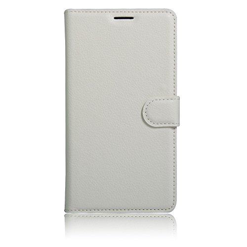 MINGYOUNG Hülle für WIKO Robby/S Kool PU Leder Flip Cover Brieftasche Ledertasche Tasche Hülle Schutzhülle mit Magnet für WIKO Robby/S Kool (Weiß)