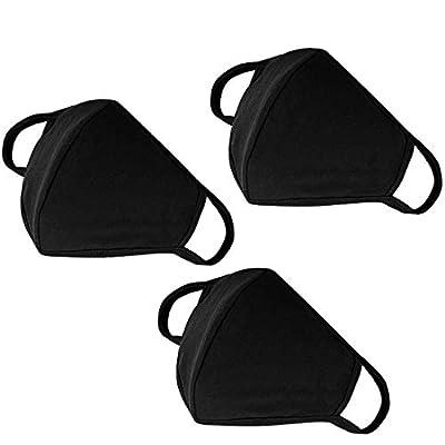 Fashion Mouth Mask Unisex Washable and Reusable Cotton Warm Face Mask with Adjustable Bridge Design (3-Pack Black Mask)