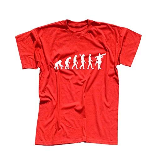 T-Shirt Evolution Handwerker Schreiner Bauarbeiter BAU 13 Farben Herren XS - 5XL Arbeitskleidung Baustelle Maloche, Größenauswahl:XS, Farbauswahl:rot - Logo Weiss