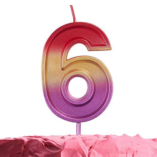 GET FRESH Number 6 Birthday Candle – Rainbow Number Six Candle on Stick – Elegant Rainbow Number Candles for Birthday Wedding Anniversary – Perfect Baby's 6th Birthday Cake Candle – Rainbow 6 Candle
