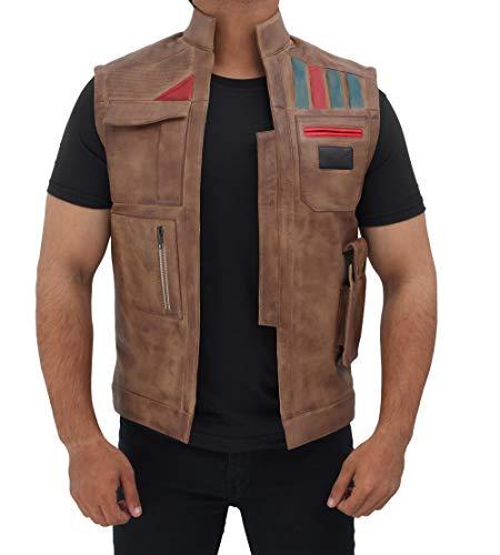 Blingsoul Distressed Biker Real Leather Jacket Vest | [1702785] Fin Vest BR, XL