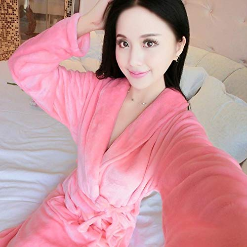 MNHJG Albornoz,Bata Preciosa Kimono Vestido Coral Otoño Invierno Ropa de Dormir cálida Lencería íntima Ropa de casa Camisón de Franela, Estilo X, M